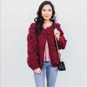 Vici Burgundy Bubble Pom Pom Heart Knit Cardigan M
